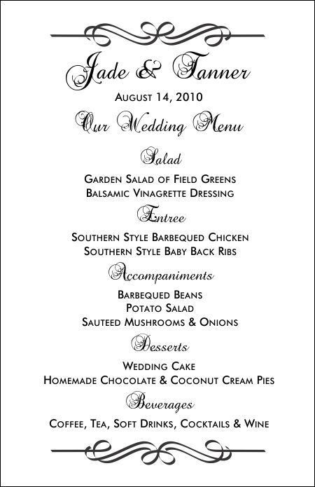 Free Printable Wedding Menus | Wedding Menu Template - Wedding ...
