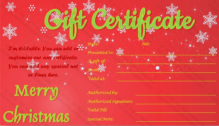 Show Twinkles Christmas Gift Certificate Template