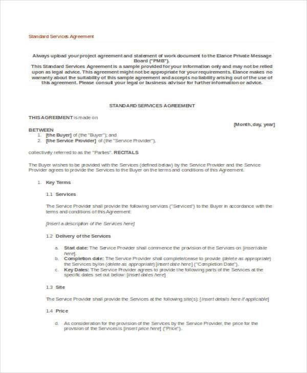 Service Agreement Contract. Free Standard Service Contract ...