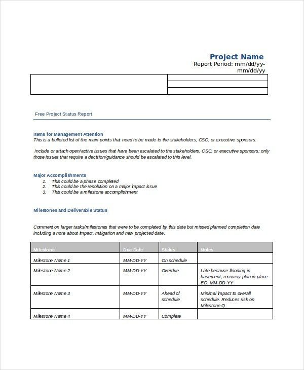 6+ Project Status Templates _ Free Word, PDF Documents Download ...