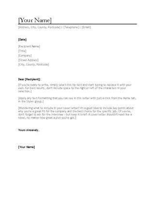 Resume cover letter - Office Templates