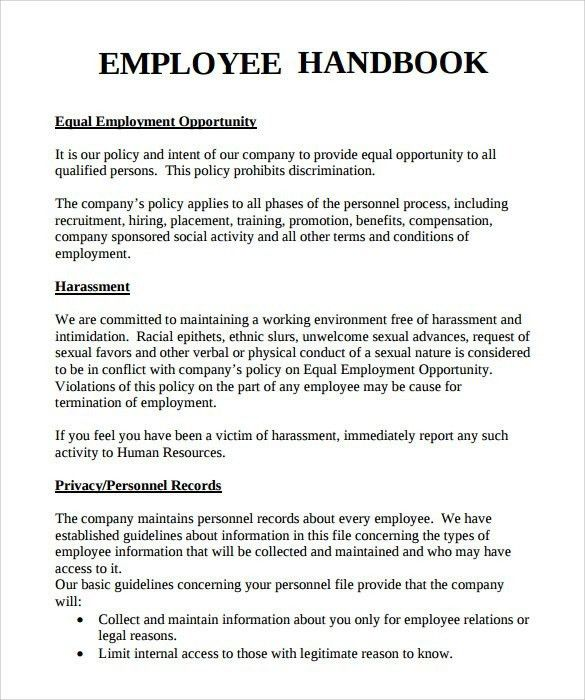 Employee Training Manual Template | Template idea