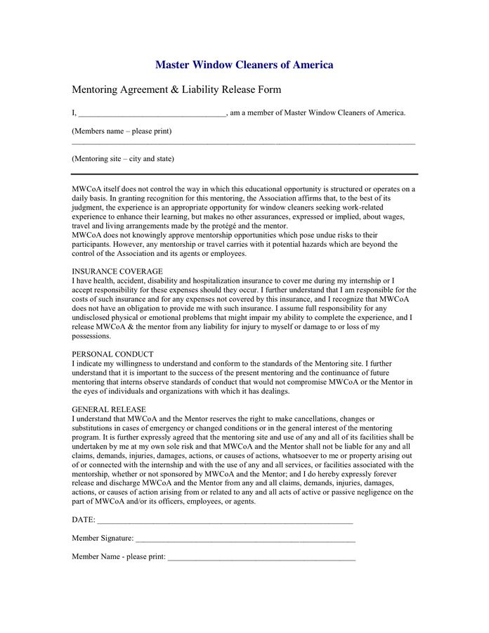 Mentoring Agreement & Liability Release Form in Word and Pdf formats