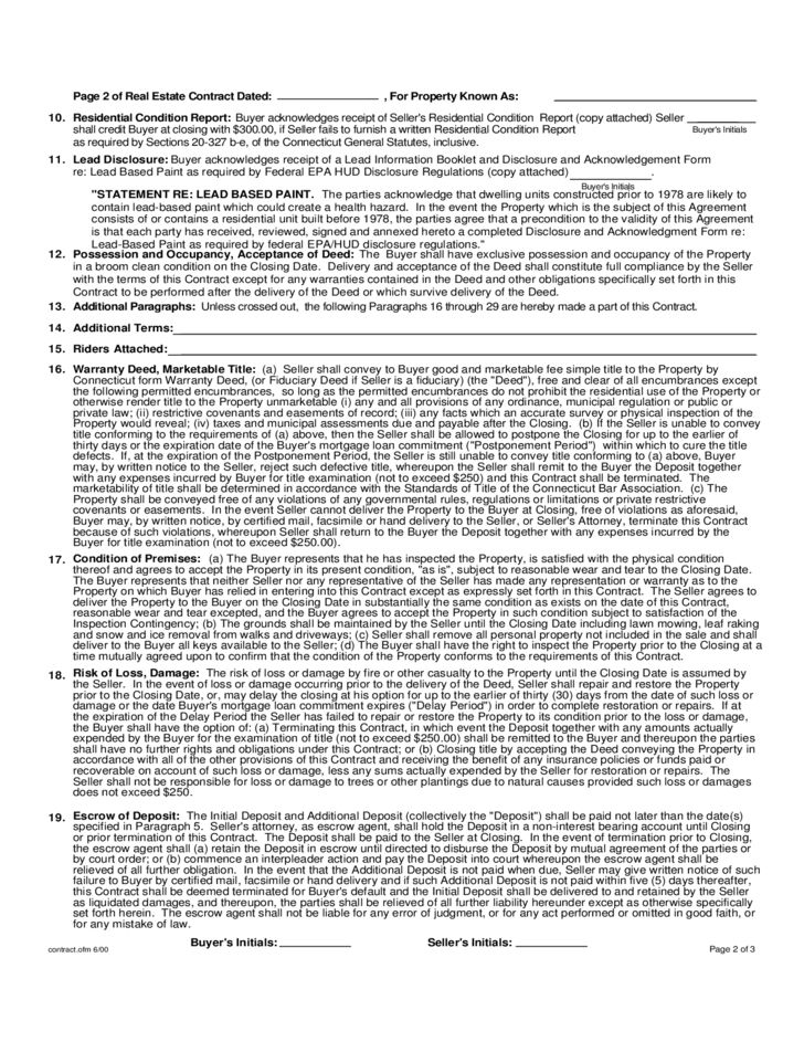 Standard Form Real Estate Contract - Connecticut Free Download