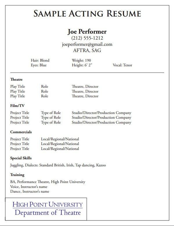 10+ Acting Resume Templates - Free Word, PDF