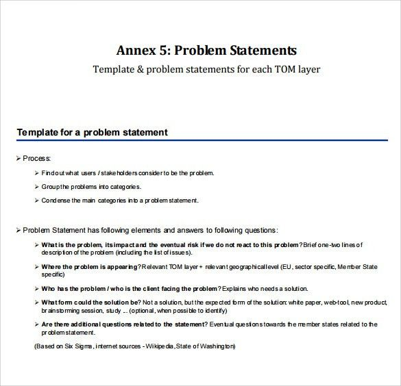 Sample Problem Statement - 8+ Documents in PDF, Word