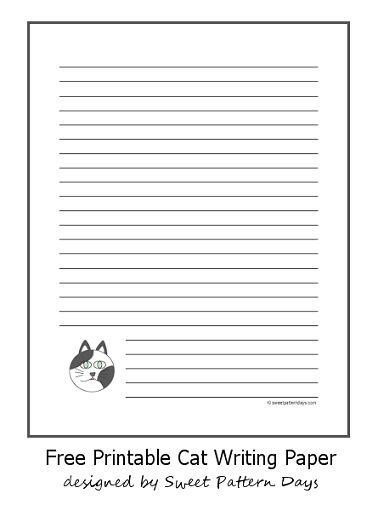 Printable Grey and White Cat Lined Paper | Stationery Printables ...