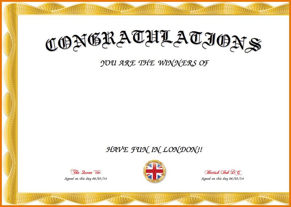 Congratulations Certificate Template ...