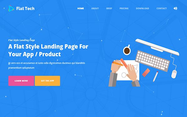 Flat Tech - Flat Landing Page Template | Bootstrap Landing Pages ...