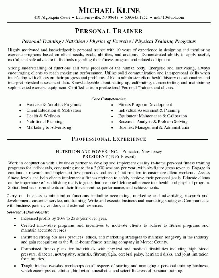 Stylish Design Ideas Trainer Resume 3 Personal Trainer Resume ...