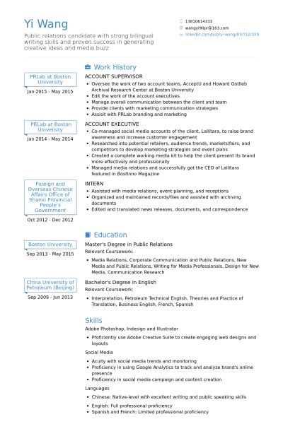 Account Supervisor Resume samples - VisualCV resume samples database