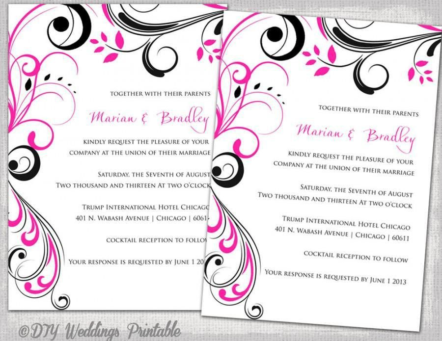 "Wedding Invitation Templates Black And Hot Pink ""Scroll ..."