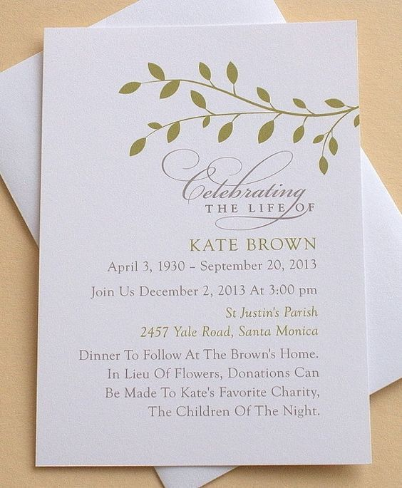 Card Invitation Ideas. celebration Memorial Service Invitation ...