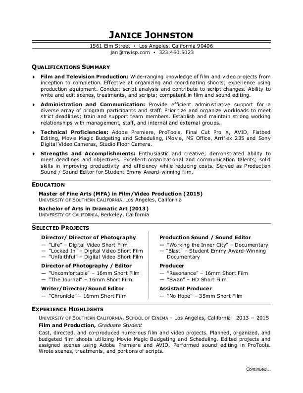 freelance video editor resume examples filmmaker format homer ...