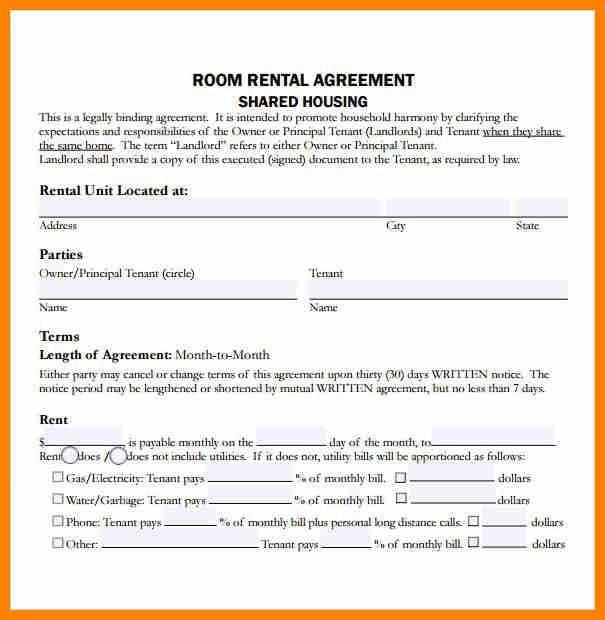 Room Rental Agreement. Printable Sample Simple Room Rental ...