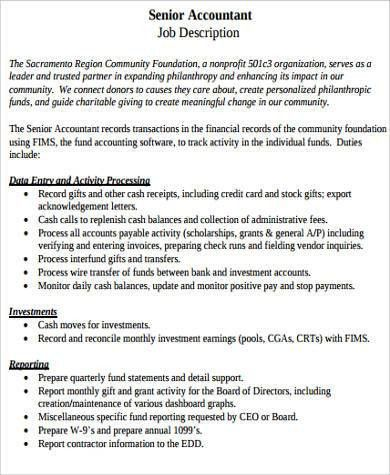 Sample Senior Accountant Job Description - 9+ Examples in Word, PDF