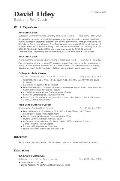 Assistant Coach Resume samples - VisualCV resume samples database