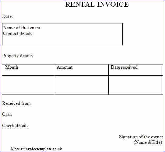 Rental Invoice. Rent Invoice Template Rent Invoice - Format ...
