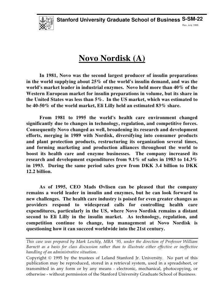 Stanford University Case Study: Novo Nordisk