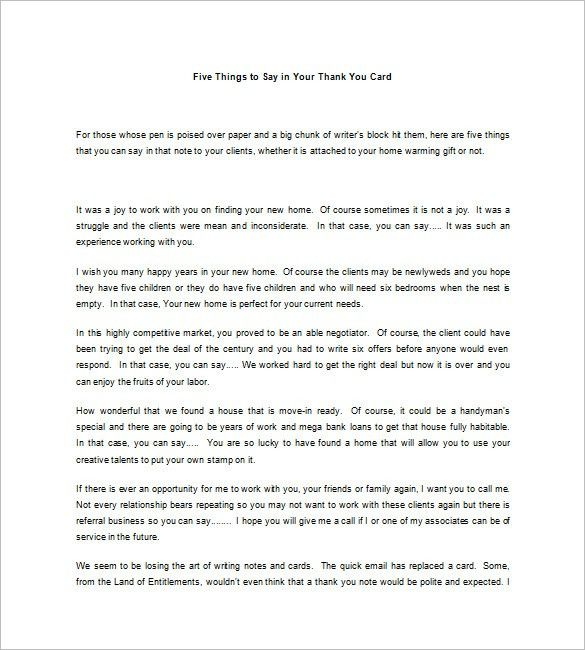 Real Estate Thank You Letters – 10+ Free Word, Excel, PDF Format ...