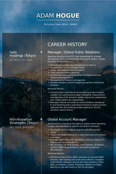 Public Relations Resume samples - VisualCV resume samples database