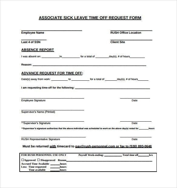 Time Off Request Forms. Time Off Request Form Instructions ...