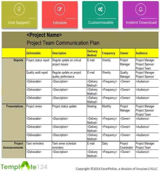 Project Team Communication Plan Template Excel | Template124