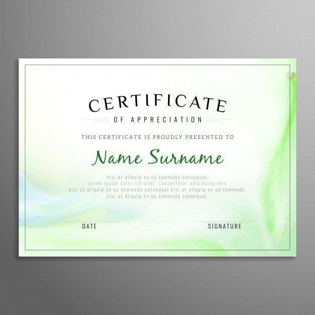 Green certificate of appreciation template Vector | Free Download