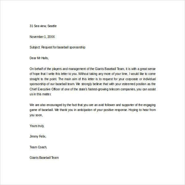 Sponsor Thank You Letter. Sponsorship Thank You Letter Template ...