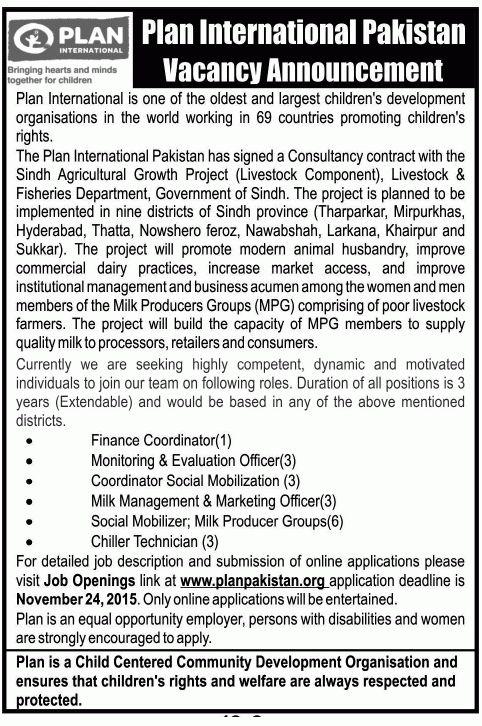 Social Mobilizer Job in Plan International Ngo, Finance ...