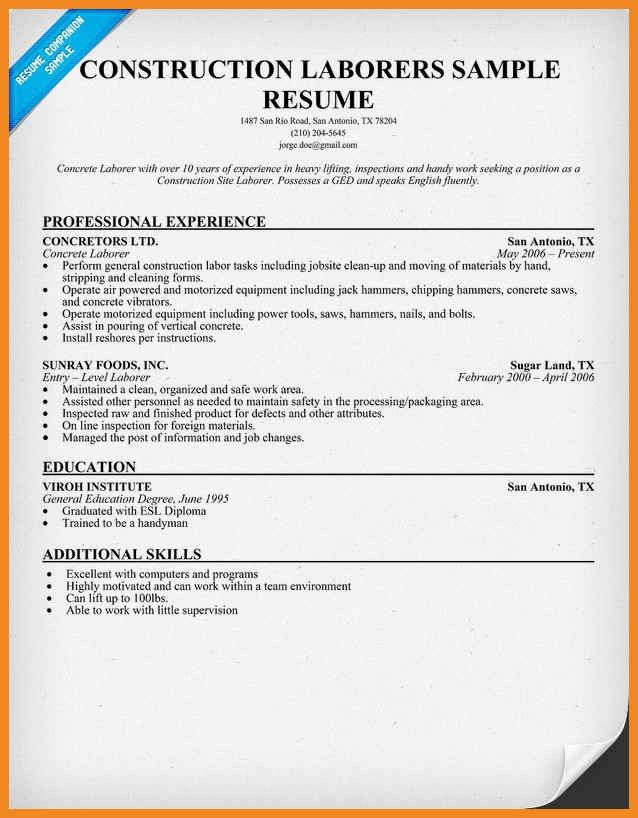 construction worker resume | art resume examples