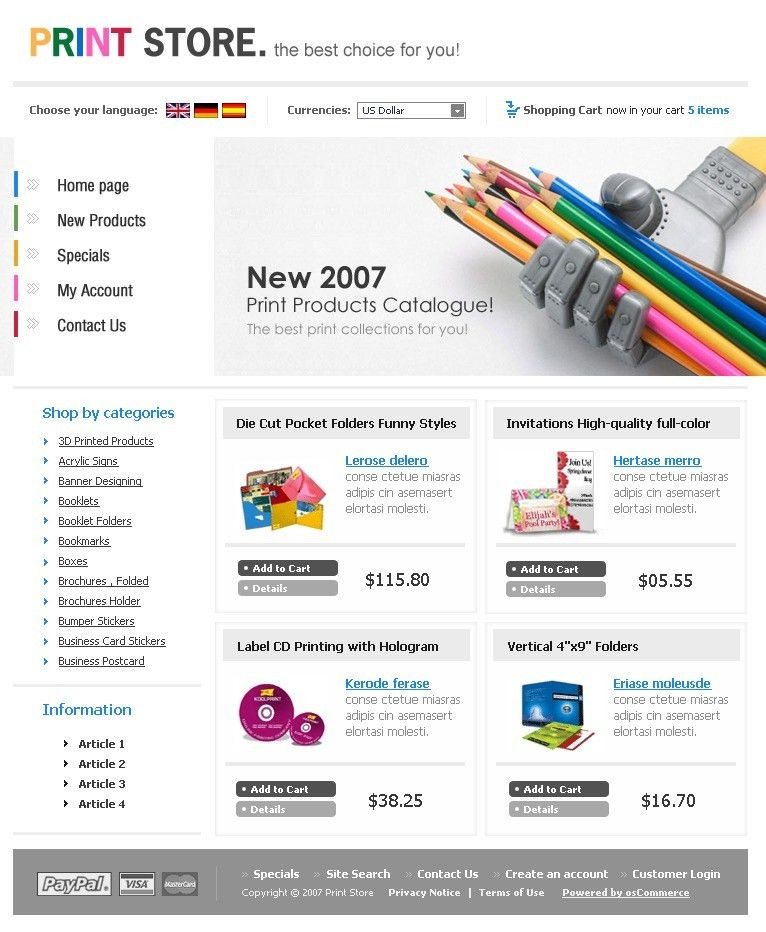 Website Template #15413 Print Store Polygraphy Custom Website ...