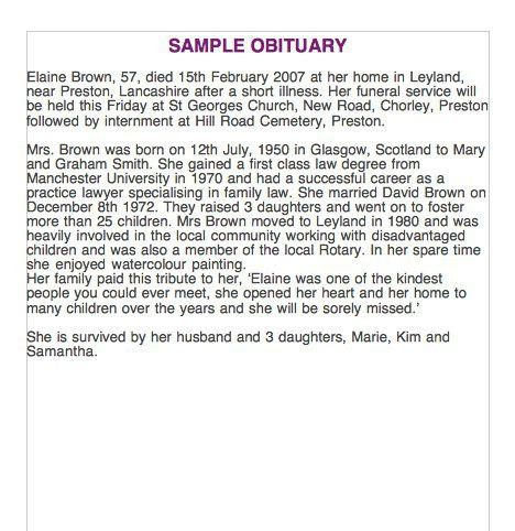 25+ Free Obituary Templates and Samples – Free Template Downloads