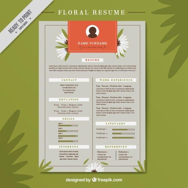 Floral resume Vector | Free Download
