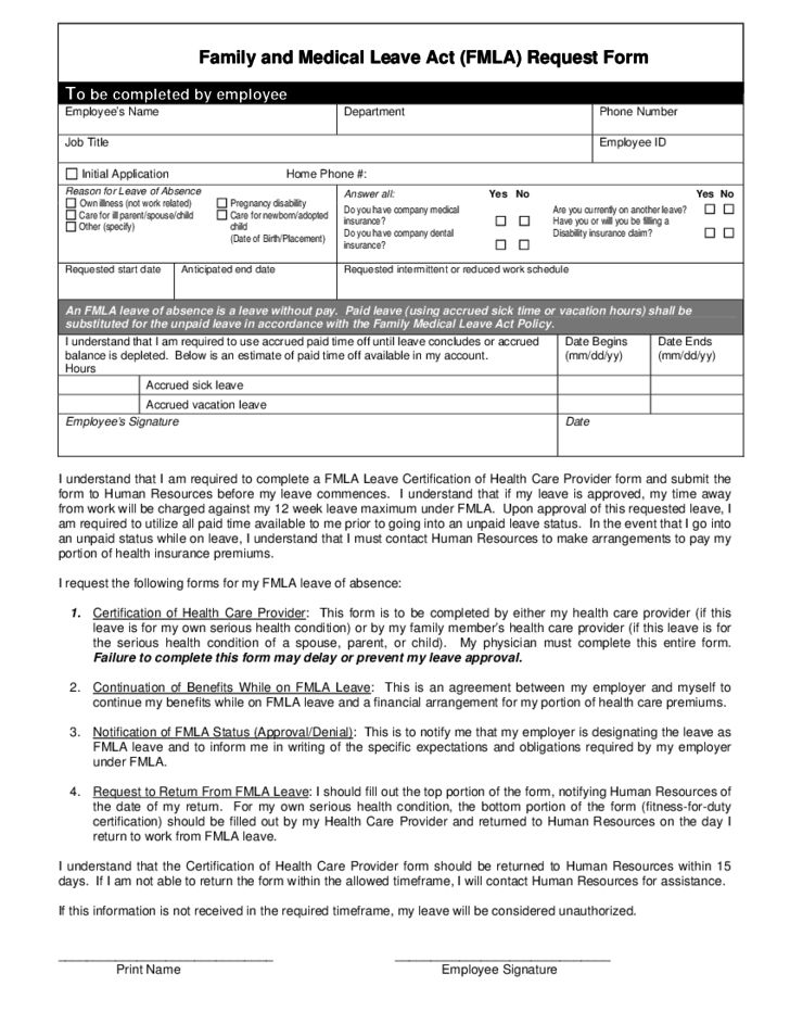 Family and Medical Leave Act (FMLA) Request Form Free Download