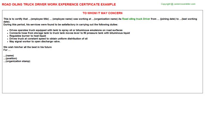 Heavy Truck Driver Work Experience Letters
