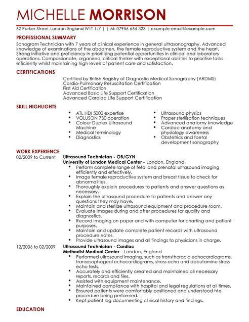 Ultrasound Technician CV Example for Healthcare | LiveCareer