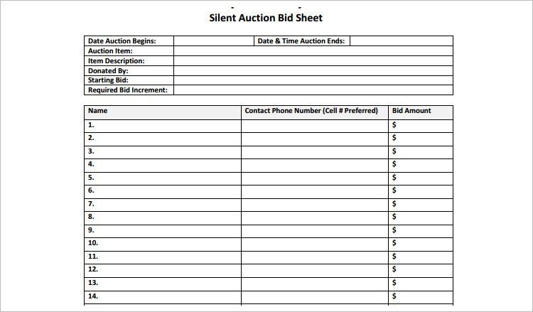 Sample Silent Auction Bid Sheet. 12 Silent Auction Forms Template ...
