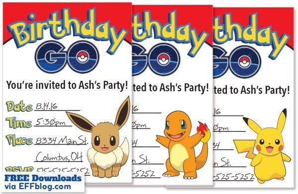 Pokémon GO: Birthday GO Free Printable Invitations