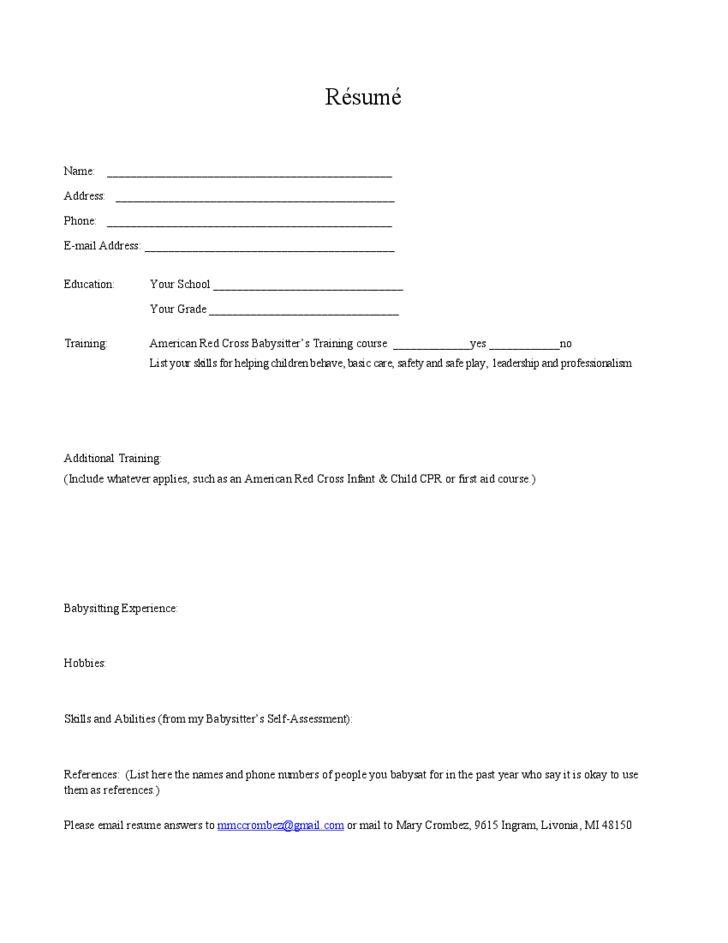 Blank Babysitter Resume Template Free Download