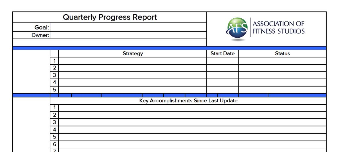 Quarterly Progress Report | The Association of Fitness Studios