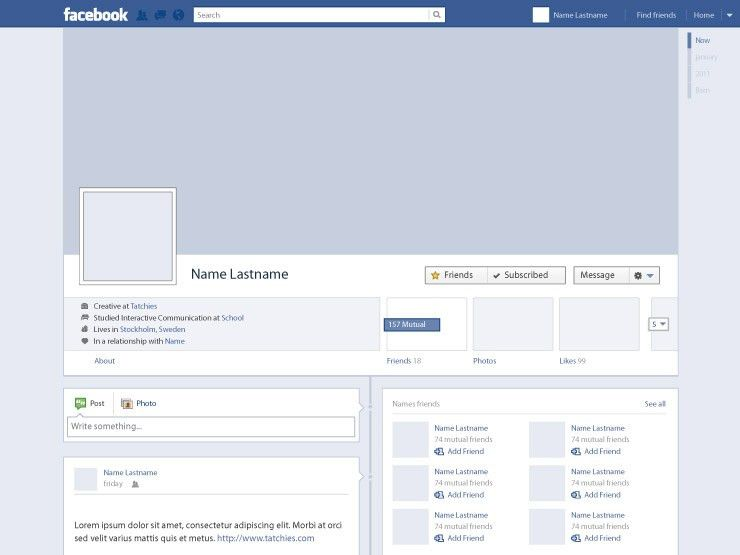 Facebook Profile Timeline | Web Design & UI | Pinterest | Facebook ...