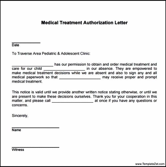 Basic Medical Treatment Authorization Letter | TemplateZet
