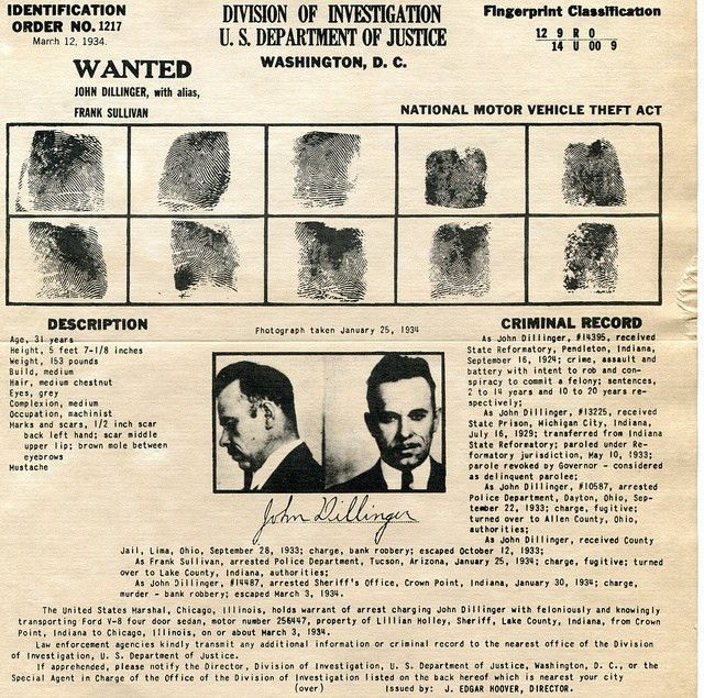 John Dillinger wanted poster and criminal record from 1934 ...