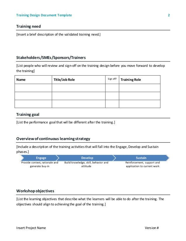 Training design document - Template 2