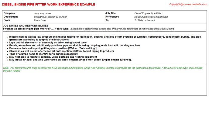 Pipe Fitter Foreman CV Work Experience Samples