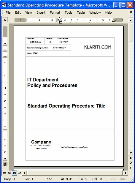 SOP - Download Standard Operating Procedures templates in MS Word