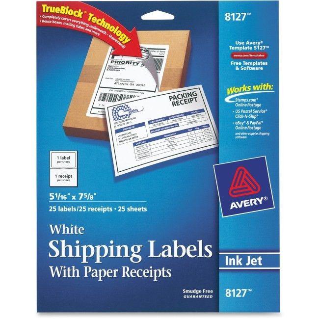 Avery 8127 Inkjet White Shipping Label w/ Paper Receipt Permanent ...