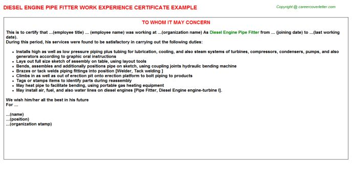 Pipe Fitter Marine Work Experience Letters
