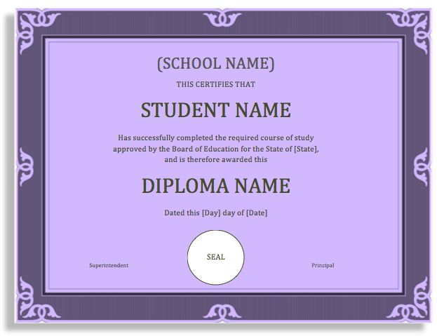 School Degree Certificate Template – Microsoft Word Templates